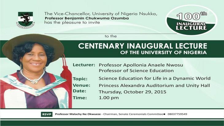 Invitation to the 100th Inaugural Lecture of UNN