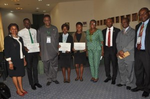 The students with Director General of SON and other dignitaries during the award ceremony at Abuja