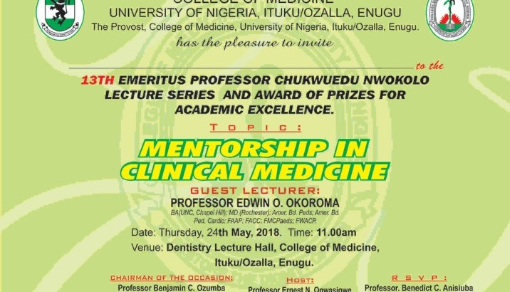 13th Annual Emeritus Professor Chukwuedu Nwokolo Lecture And Award of Prizes for Academic Excellence