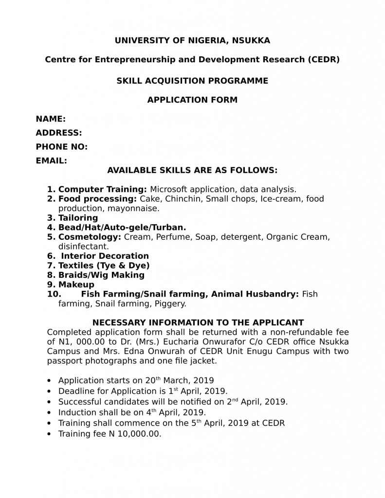 CEDR SKILL ACQUISITION PROGRAMME APPLICATION FORM-1
