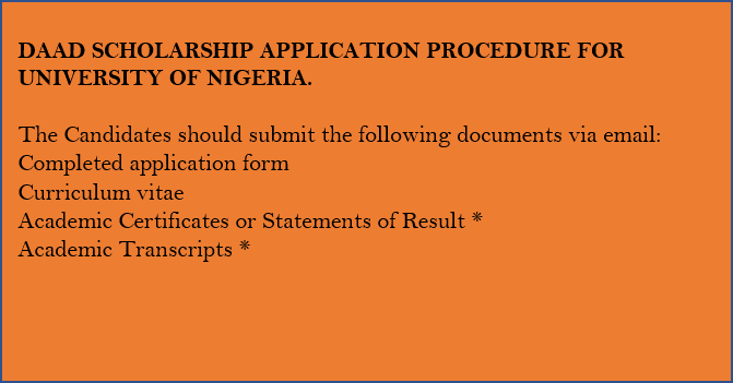 DAAD Scholarship Application Procedure For University Of Nigeria