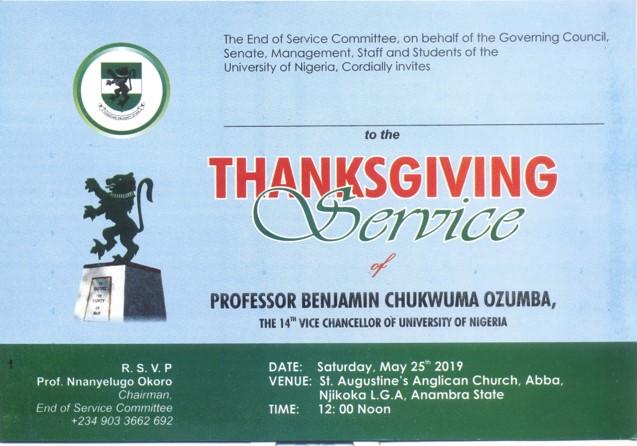 Thanksgiving Service Of Prof. Benjamin Ozumba