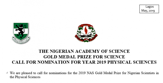 The Nigerian Academy Of Science Gold Medal Prize For Science Call For Nomination For Year 2019 Physical Science