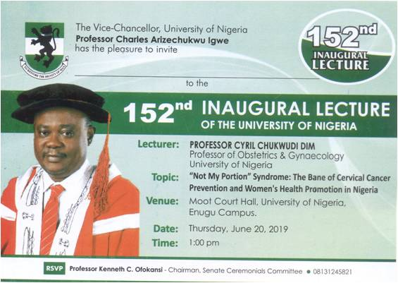 152nd Inaugural Lecture