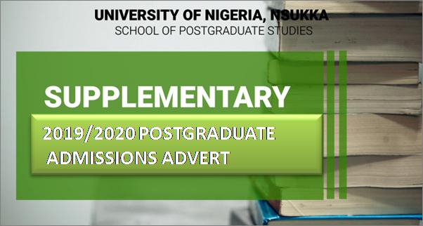 SUPPLEMENTARY 2019/2020 POSTGRADUATE ADMISSIONS ADVERT