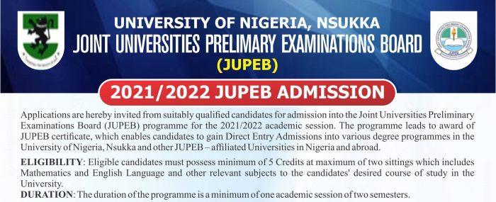 2021/2022 JUPEB ADMISSION