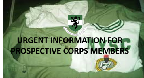 Urgent Information for Prospective Corps Members
