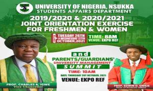 2019/2020 & 2020/2021 Joint Orientation Exercise For Freshmen and Women